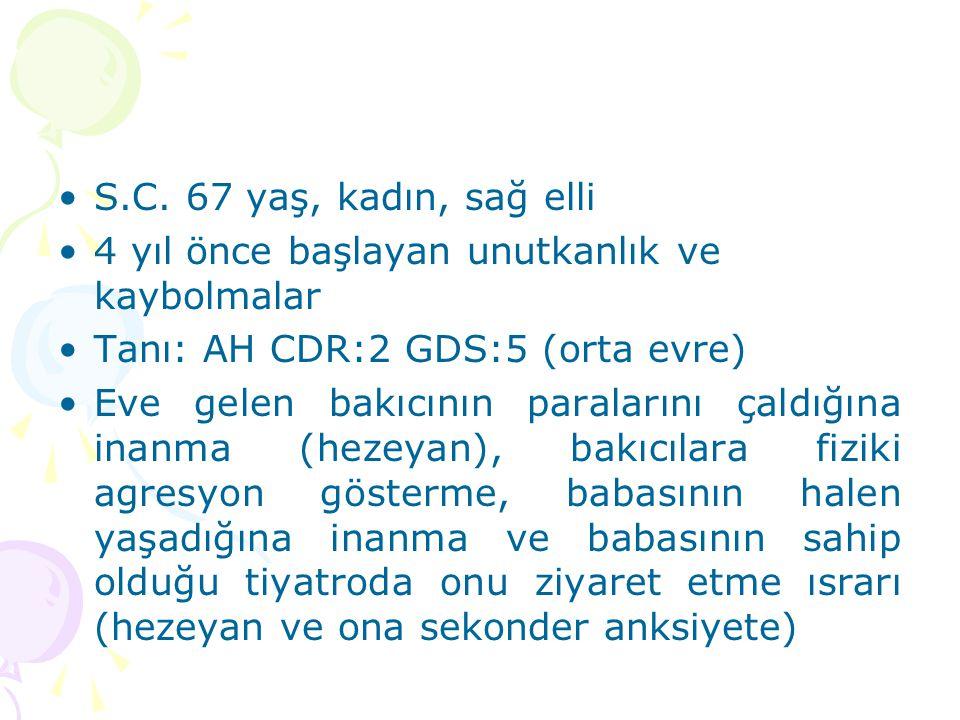S.C. 67 yaş, kadın, sağ elli 4 yıl önce başlayan unutkanlık ve kaybolmalar. Tanı: AH CDR:2 GDS:5 (orta evre)
