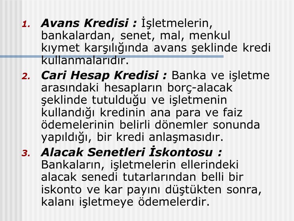 Avans Kredisi : İşletmelerin, bankalardan, senet, mal, menkul kıymet karşılığında avans şeklinde kredi kullanmalarıdır.