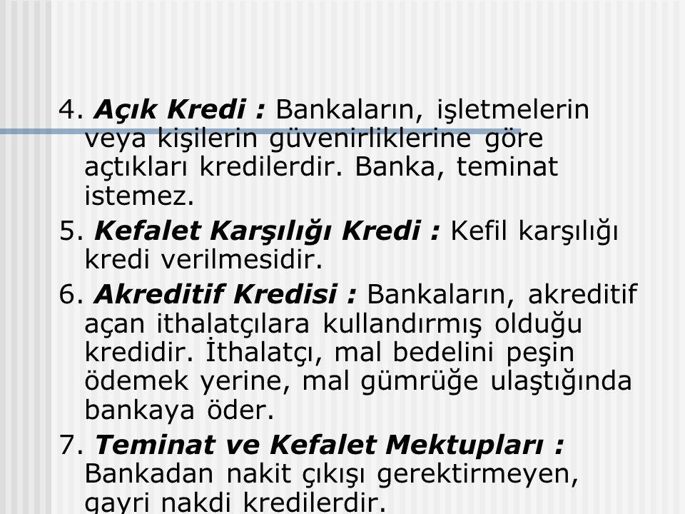 4. Açık Kredi : Bankaların, işletmelerin veya kişilerin güvenirliklerine göre açtıkları kredilerdir. Banka, teminat istemez.