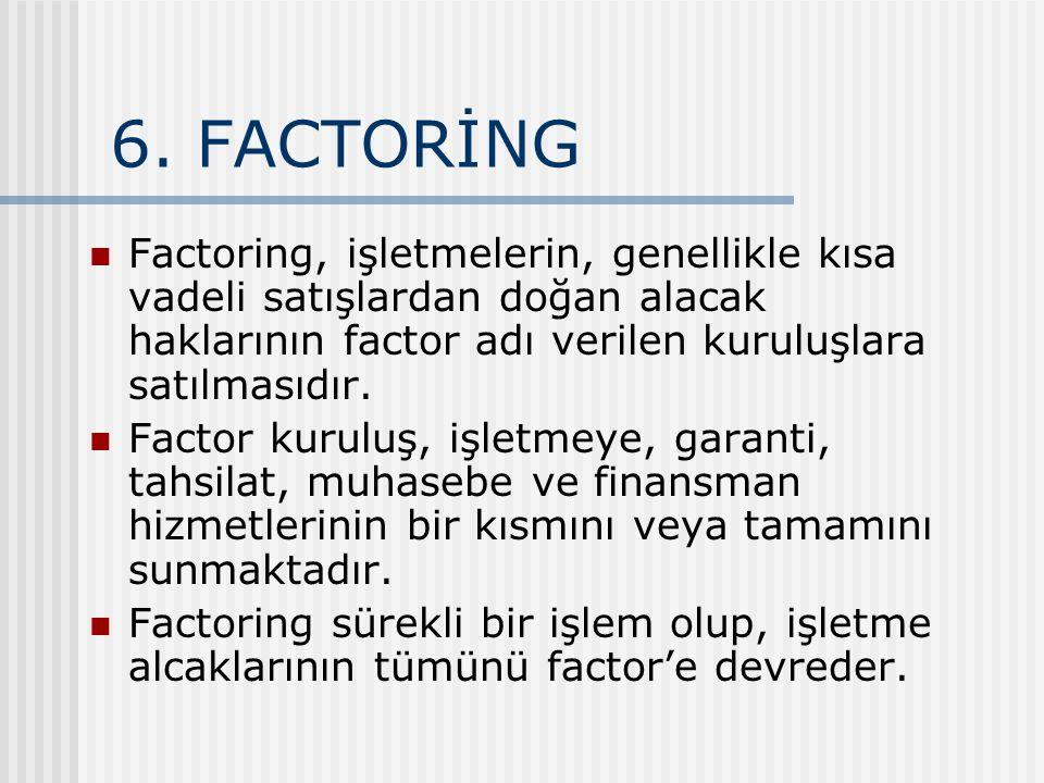 6. FACTORİNG Factoring, işletmelerin, genellikle kısa vadeli satışlardan doğan alacak haklarının factor adı verilen kuruluşlara satılmasıdır.