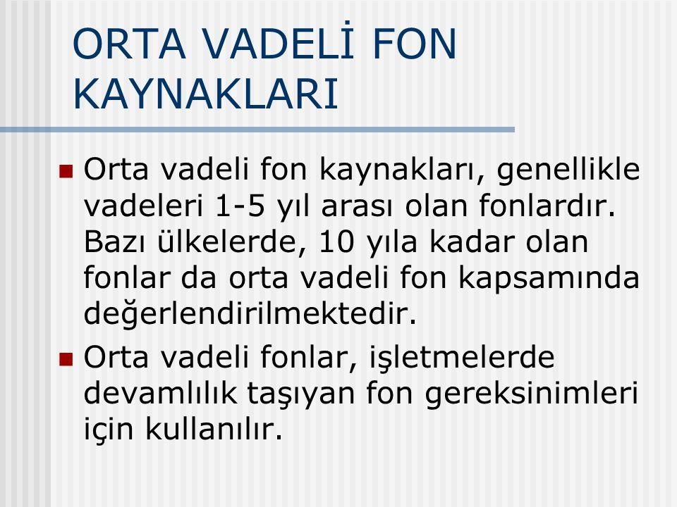 ORTA VADELİ FON KAYNAKLARI