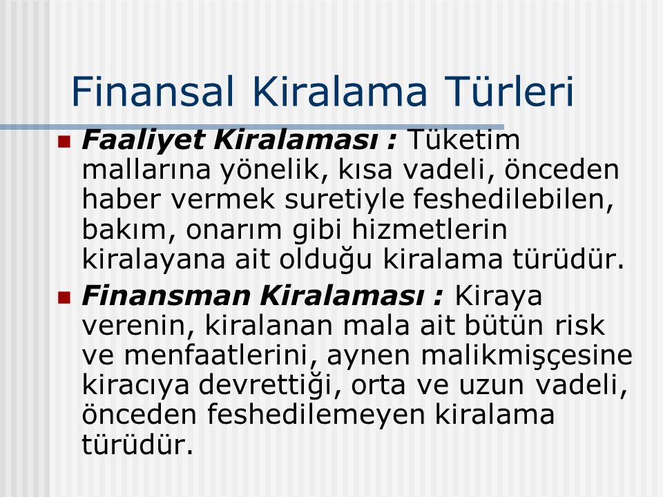 Finansal Kiralama Türleri