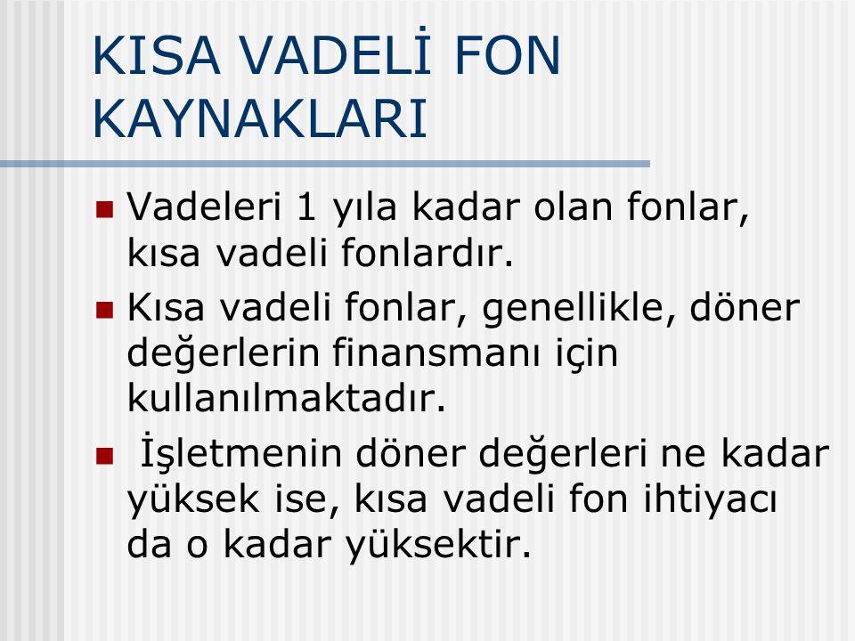 KISA VADELİ FON KAYNAKLARI
