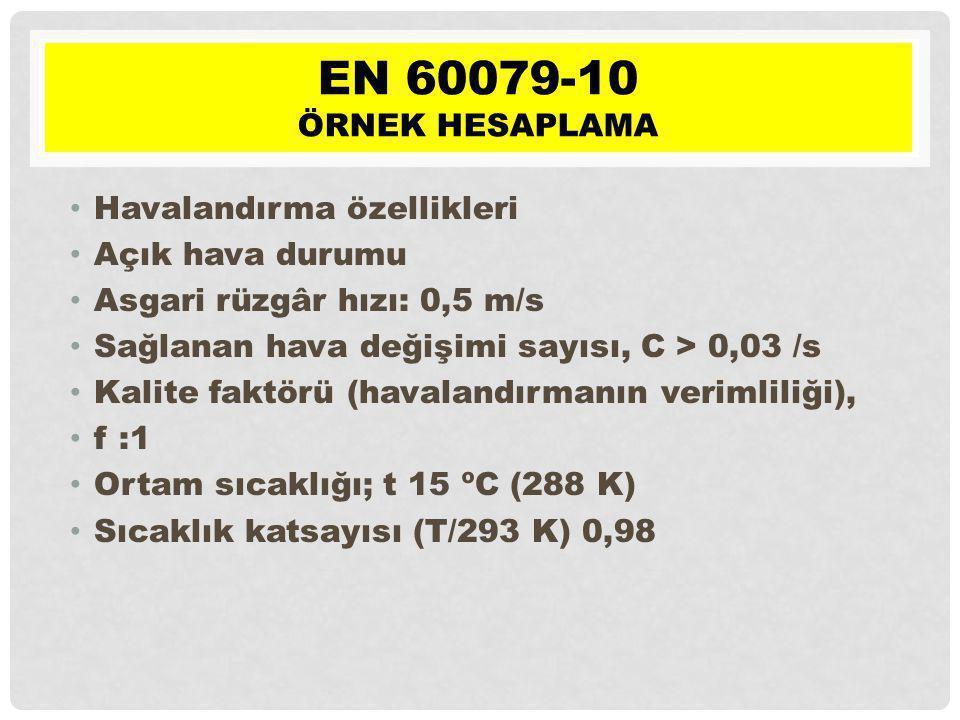 EN 60079-10 Örnek hesaplama Havalandırma özellikleri Açık hava durumu