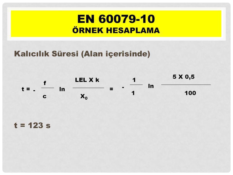 EN 60079-10 Örnek hesaplama Kalıcılık Süresi (Alan içerisinde)