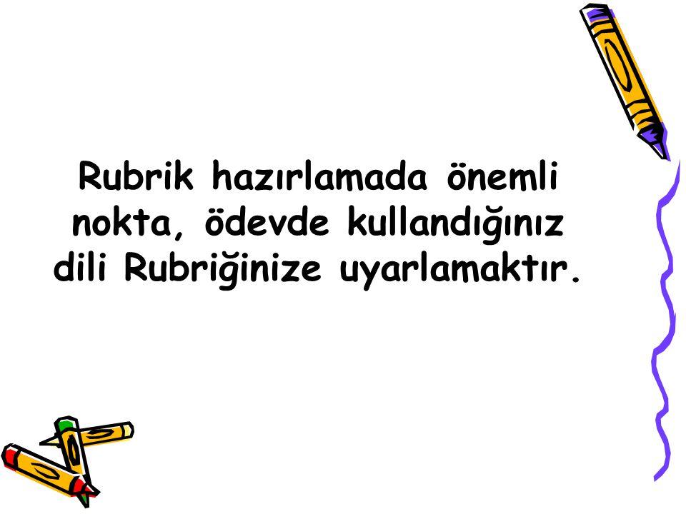 Rubrik hazırlamada önemli nokta, ödevde kullandığınız dili Rubriğinize uyarlamaktır.