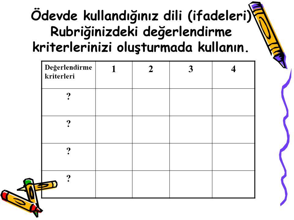 Ödevde kullandığınız dili (ifadeleri) Rubriğinizdeki değerlendirme kriterlerinizi oluşturmada kullanın.