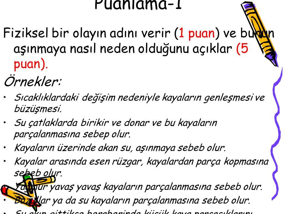 Puanlama-1 Fiziksel bir olayın adını verir (1 puan) ve bunun aşınmaya nasıl neden olduğunu açıklar (5 puan).