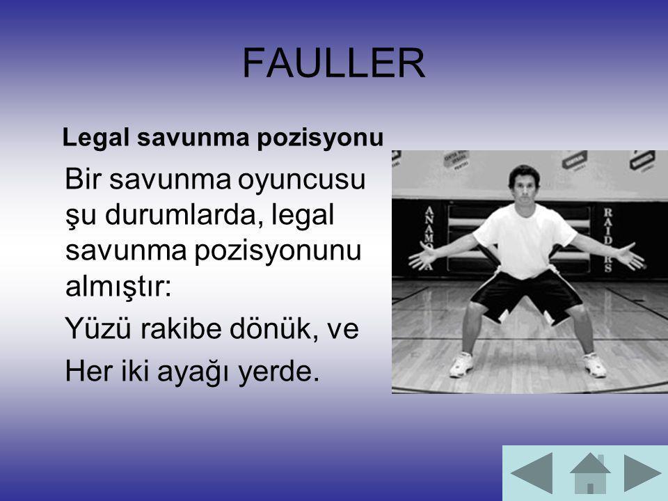 FAULLER Legal savunma pozisyonu. Bir savunma oyuncusu şu durumlarda, legal savunma pozisyonunu almıştır: