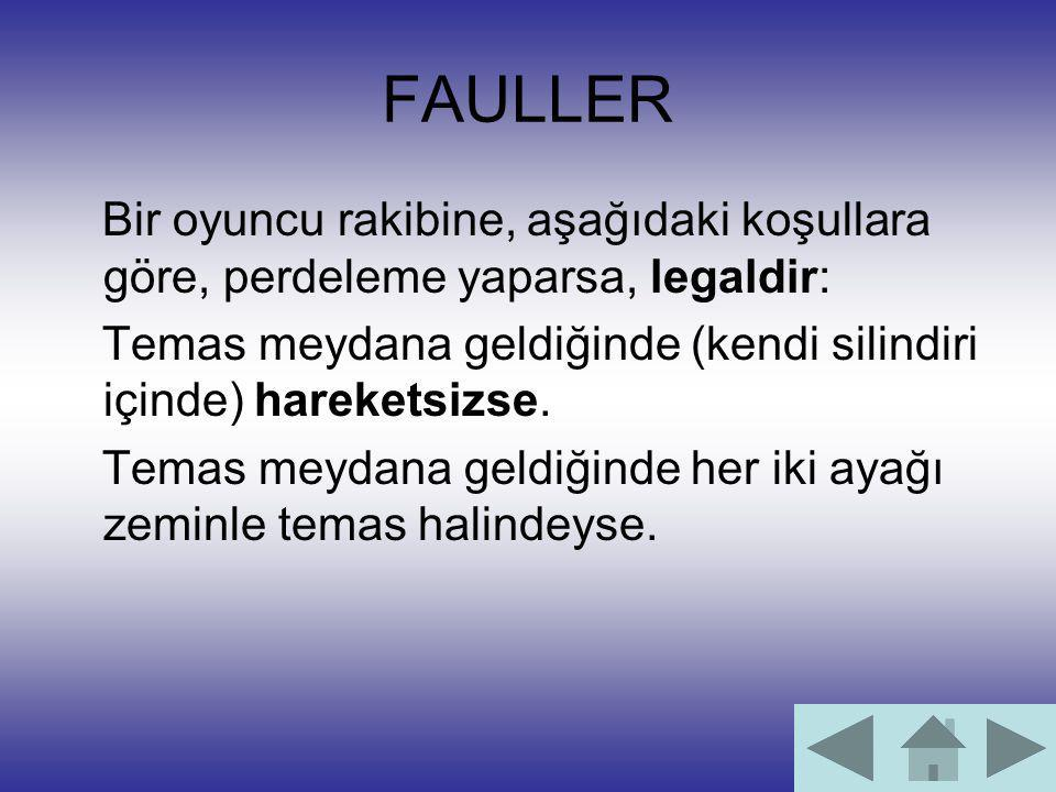 FAULLER Bir oyuncu rakibine, aşağıdaki koşullara göre, perdeleme yaparsa, legaldir: Temas meydana geldiğinde (kendi silindiri içinde) hareketsizse.