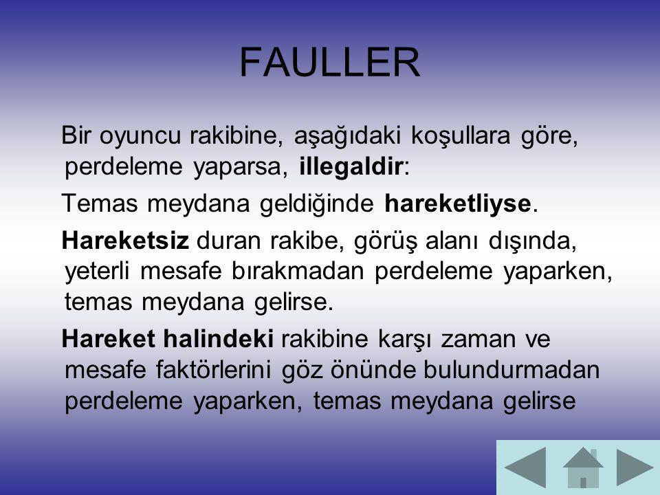 FAULLER Bir oyuncu rakibine, aşağıdaki koşullara göre, perdeleme yaparsa, illegaldir: Temas meydana geldiğinde hareketliyse.