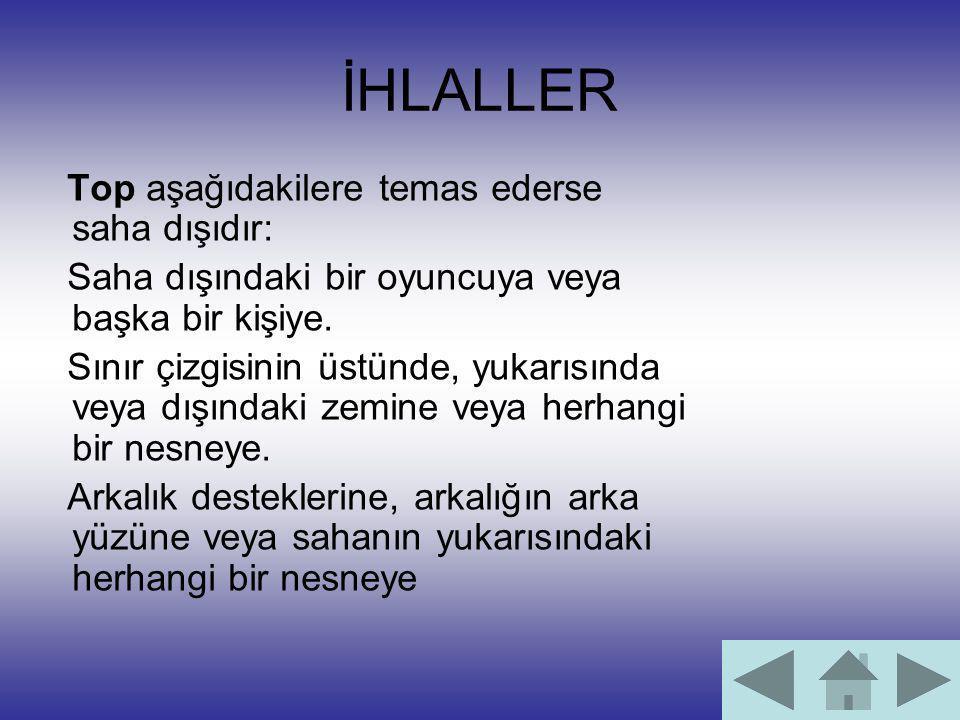 İHLALLER Top aşağıdakilere temas ederse saha dışıdır: