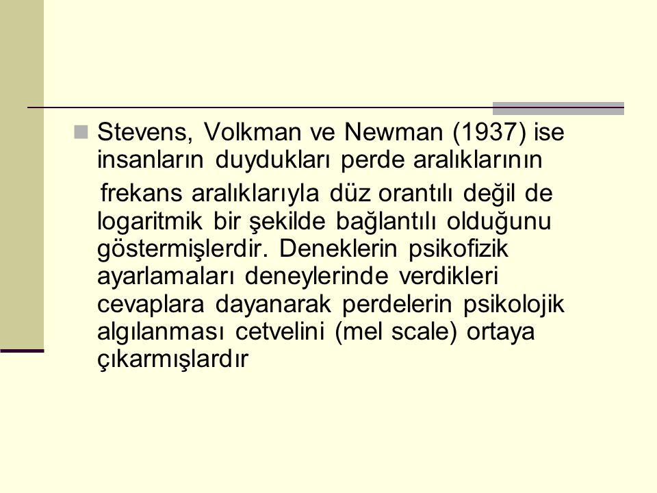 Stevens, Volkman ve Newman (1937) ise insanların duydukları perde aralıklarının