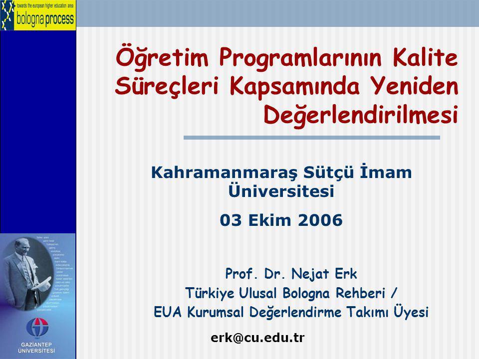 Öğretim Programlarının Kalite Süreçleri Kapsamında Yeniden Değerlendirilmesi