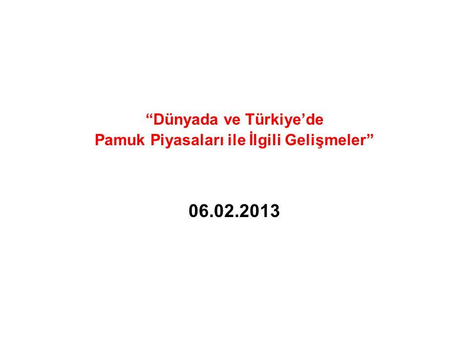 Dünyada ve Türkiye'de Pamuk Piyasaları ile İlgili Gelişmeler