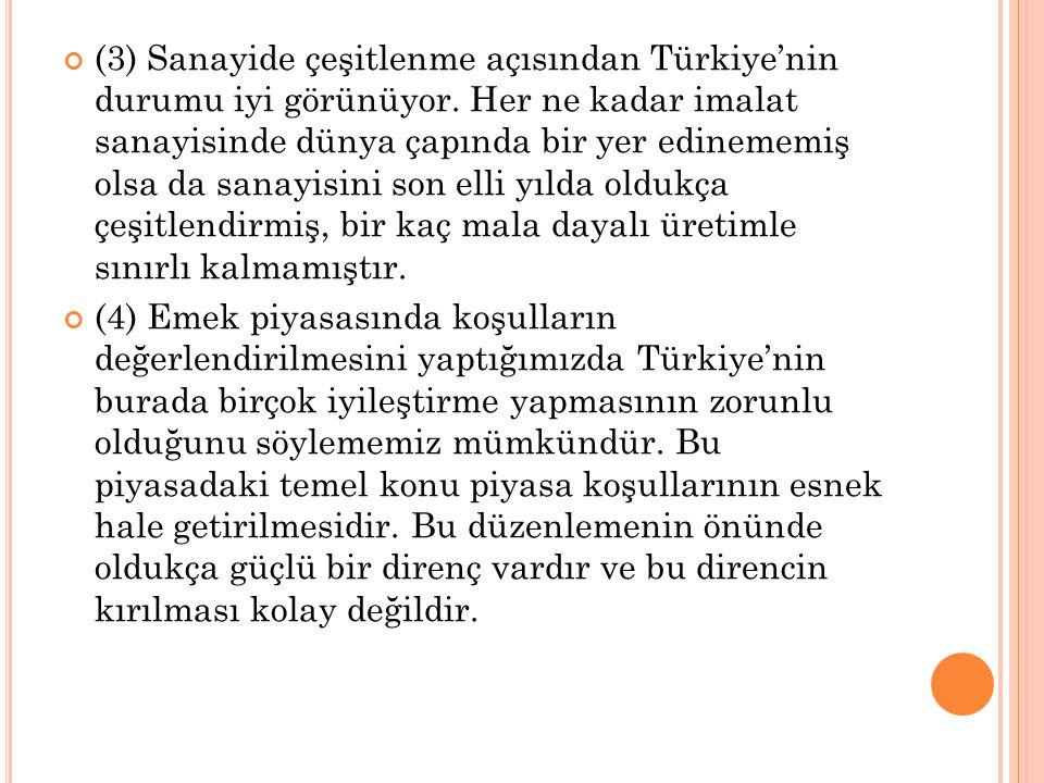 (3) Sanayide çeşitlenme açısından Türkiye'nin durumu iyi görünüyor