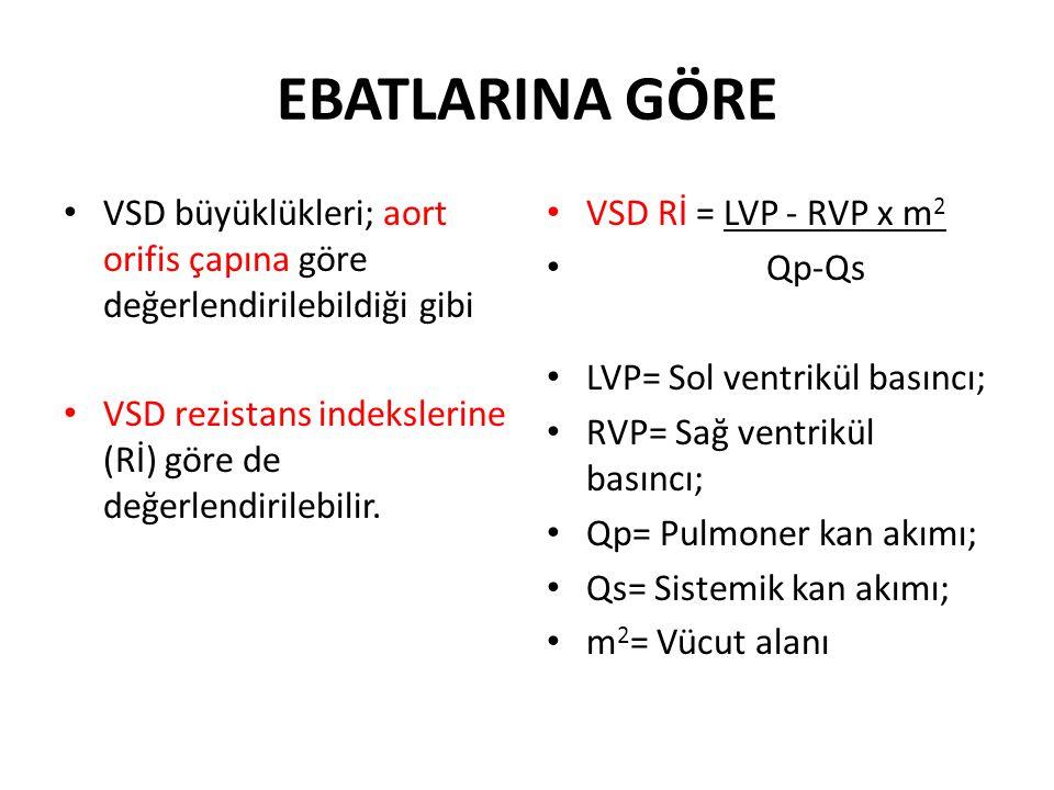 EBATLARINA GÖRE VSD büyüklükleri; aort orifis çapına göre değerlendirilebildiği gibi. VSD rezistans indekslerine (Rİ) göre de değerlendirilebilir.