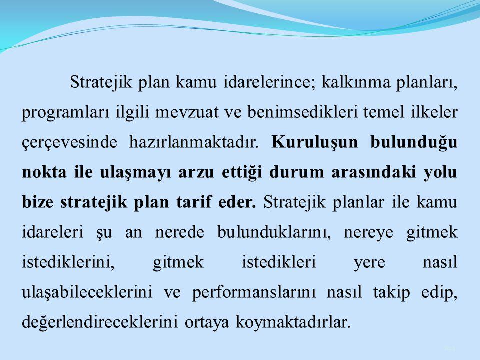 Stratejik plan kamu idarelerince; kalkınma planları, programları ilgili mevzuat ve benimsedikleri temel ilkeler çerçevesinde hazırlanmaktadır.