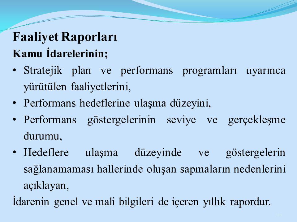 Faaliyet Raporları Kamu İdarelerinin;