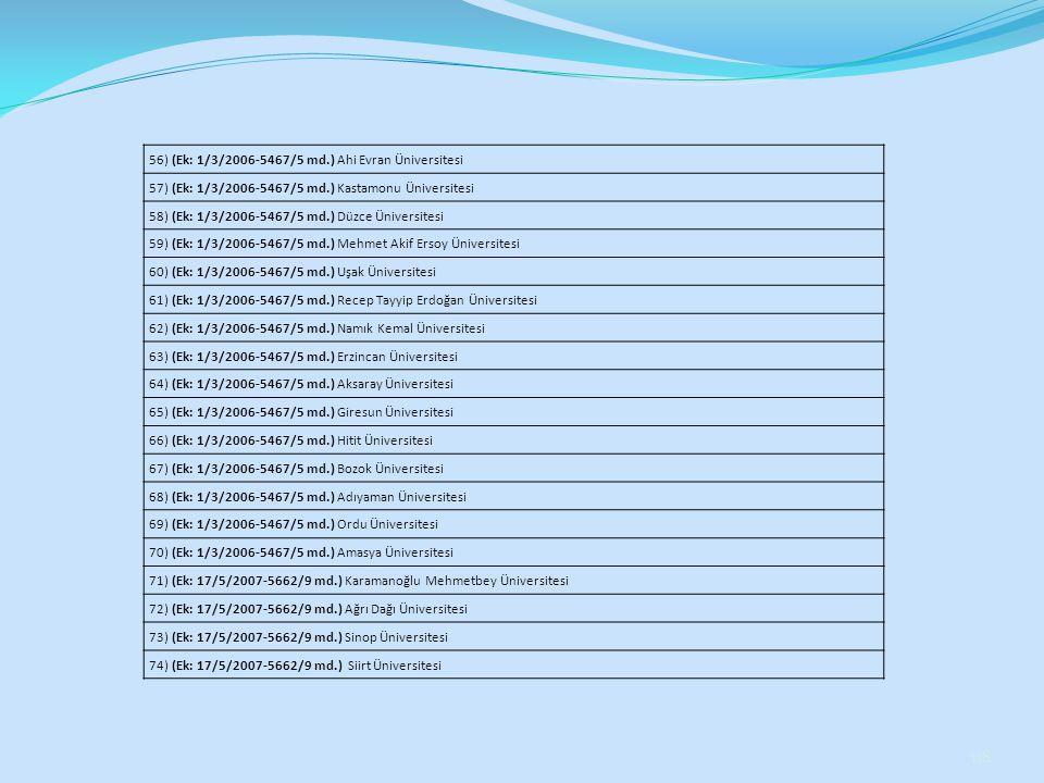 56) (Ek: 1/3/2006-5467/5 md.) Ahi Evran Üniversitesi