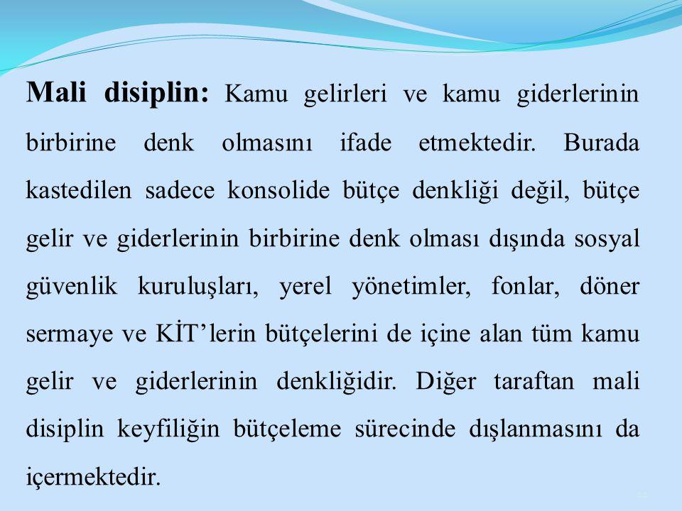 Mali disiplin: Kamu gelirleri ve kamu giderlerinin birbirine denk olmasını ifade etmektedir.