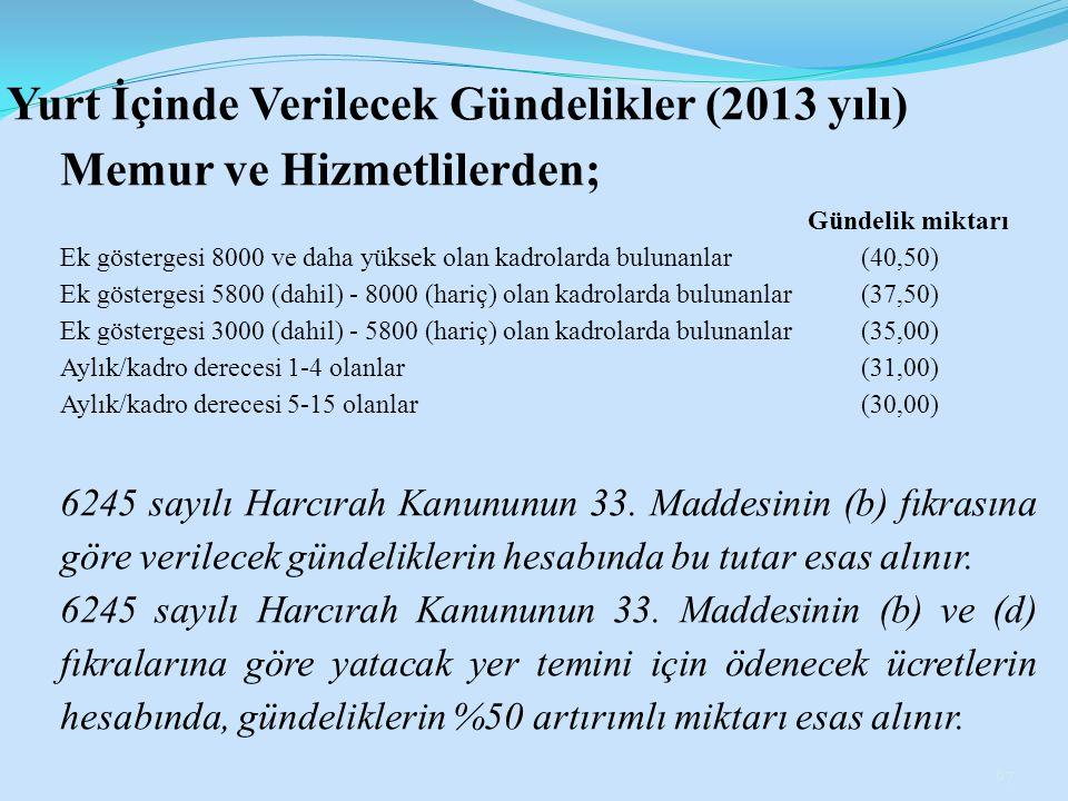 Yurt İçinde Verilecek Gündelikler (2013 yılı) Memur ve Hizmetlilerden;