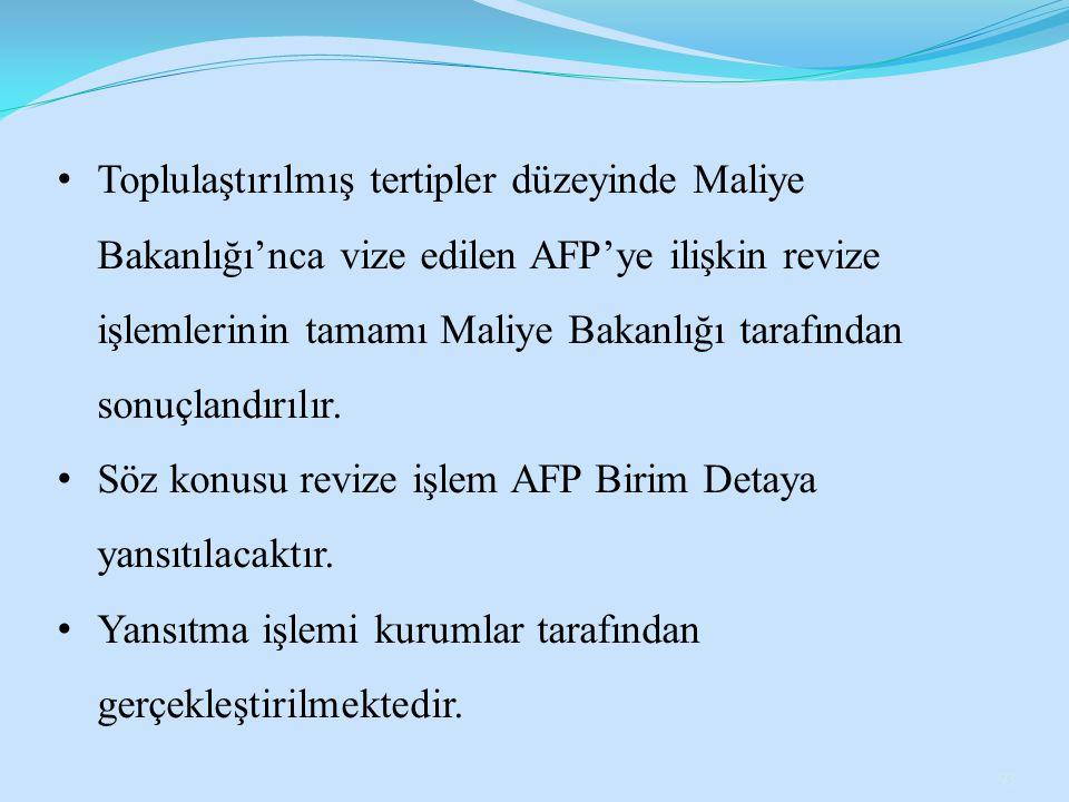 Toplulaştırılmış tertipler düzeyinde Maliye Bakanlığı'nca vize edilen AFP'ye ilişkin revize işlemlerinin tamamı Maliye Bakanlığı tarafından sonuçlandırılır.