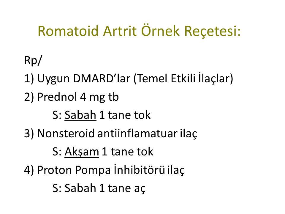 Romatoid Artrit Örnek Reçetesi: