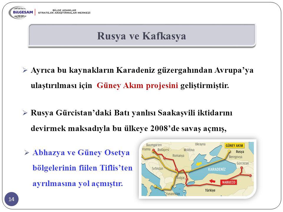 Rusya ve Kafkasya Ayrıca bu kaynakların Karadeniz güzergahından Avrupa'ya ulaştırılması için Güney Akım projesini geliştirmiştir.