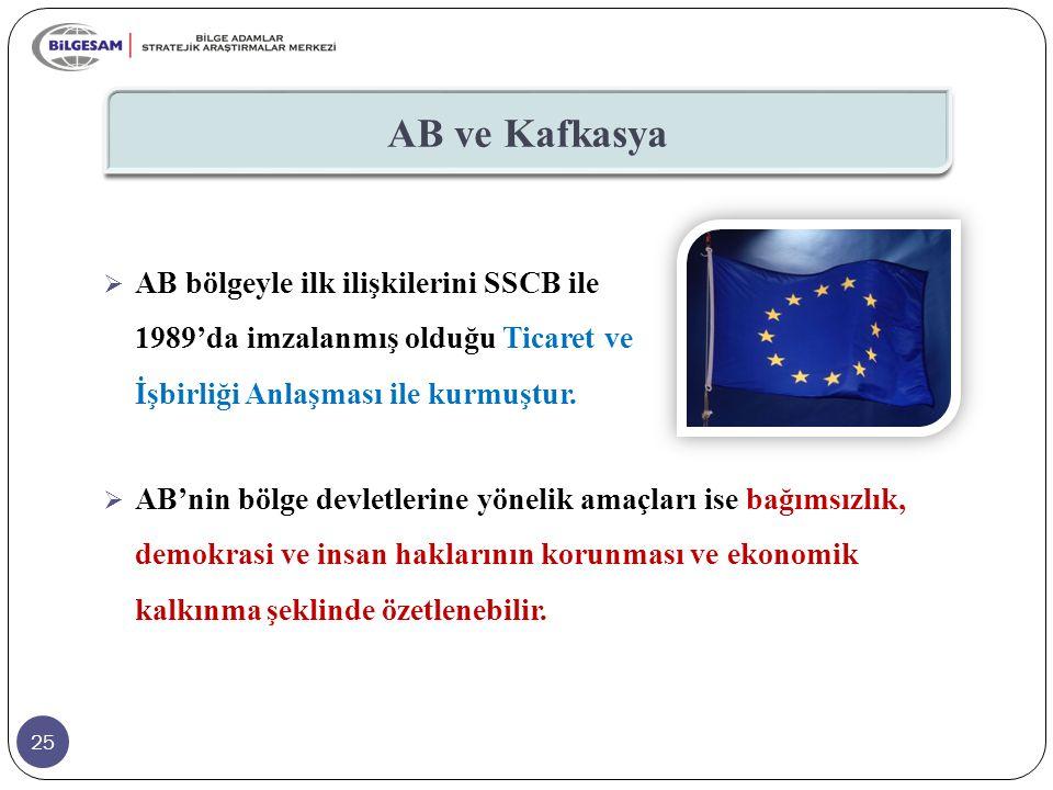 AB ve Kafkasya AB bölgeyle ilk ilişkilerini SSCB ile 1989'da imzalanmış olduğu Ticaret ve İşbirliği Anlaşması ile kurmuştur.