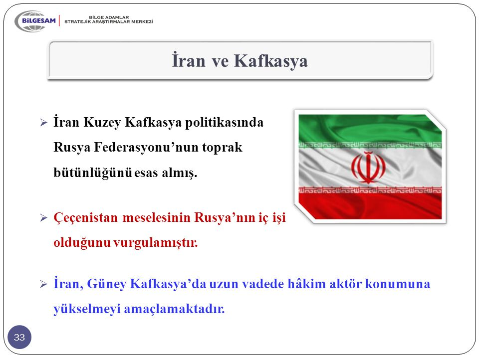 İran ve Kafkasya İran Kuzey Kafkasya politikasında Rusya Federasyonu'nun toprak bütünlüğünü esas almış.