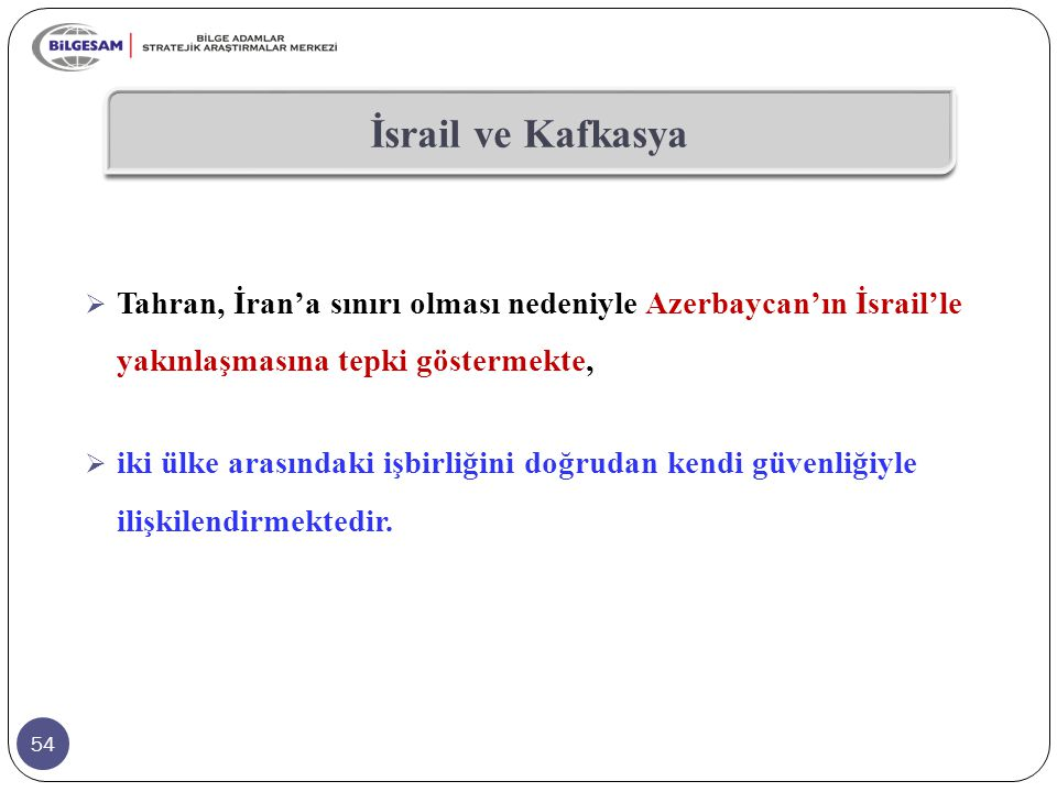 İsrail ve Kafkasya Tahran, İran'a sınırı olması nedeniyle Azerbaycan'ın İsrail'le yakınlaşmasına tepki göstermekte,