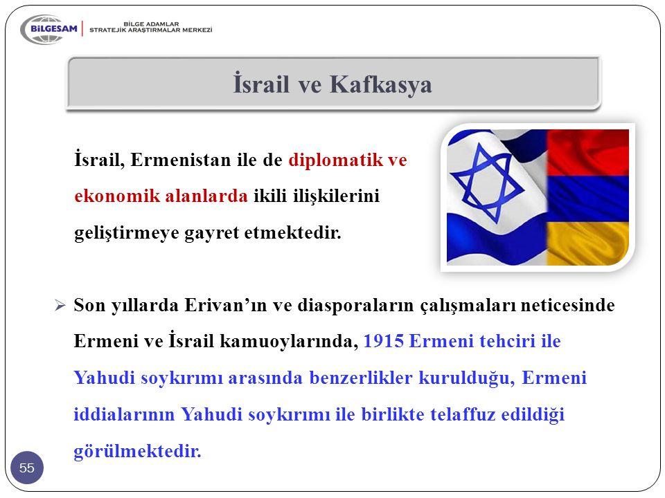 İsrail ve Kafkasya İsrail, Ermenistan ile de diplomatik ve ekonomik alanlarda ikili ilişkilerini geliştirmeye gayret etmektedir.