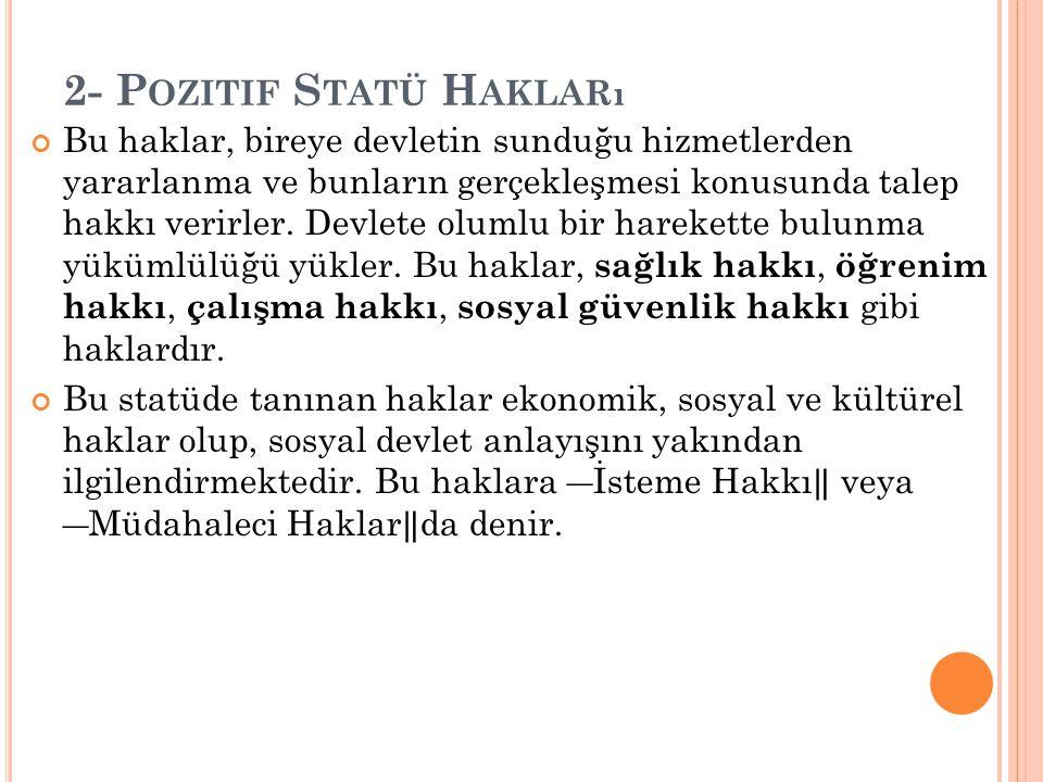 2- Pozitif Statü Hakları