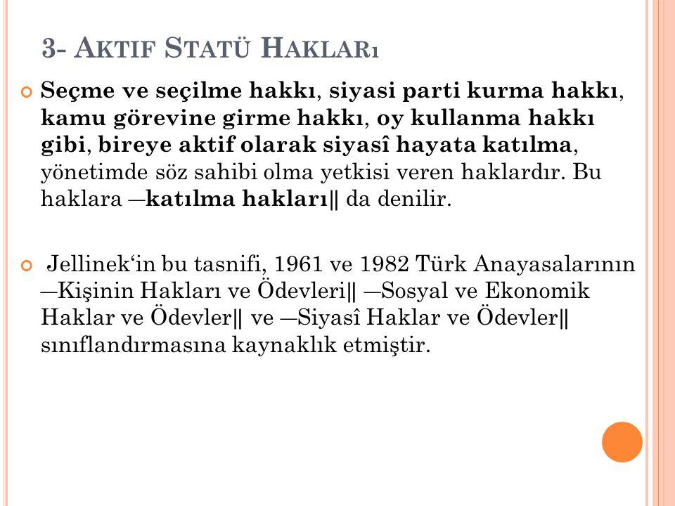 3- Aktif Statü Hakları