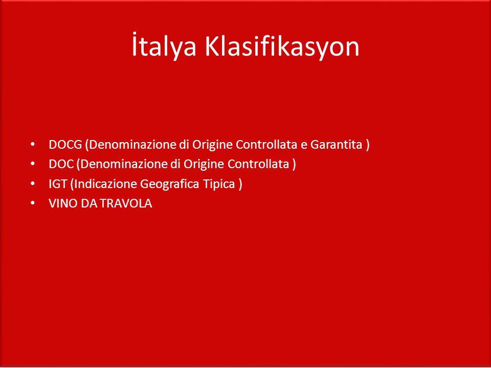 İtalya Klasifikasyon DOCG (Denominazione di Origine Controllata e Garantita ) DOC (Denominazione di Origine Controllata )