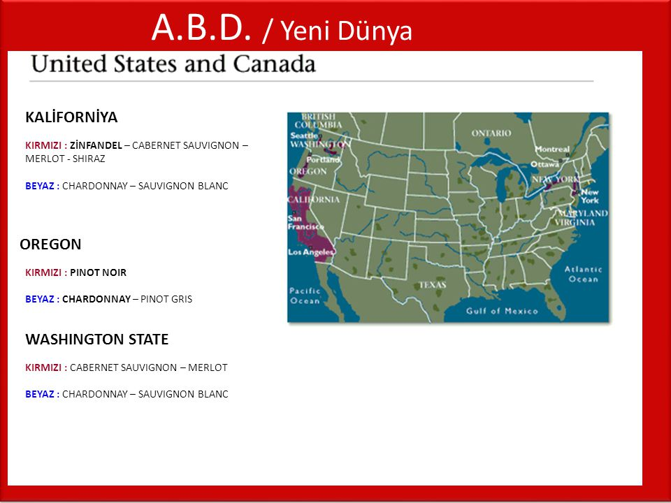 A.B.D. / Yeni Dünya KALİFORNİYA OREGON WASHINGTON STATE