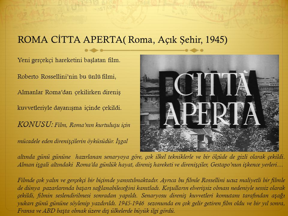ROMA CİTTA APERTA( Roma, Açık Şehir, 1945)