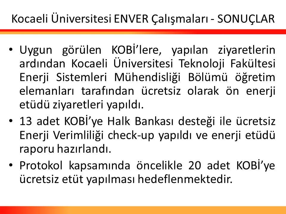 Kocaeli Üniversitesi ENVER Çalışmaları - SONUÇLAR