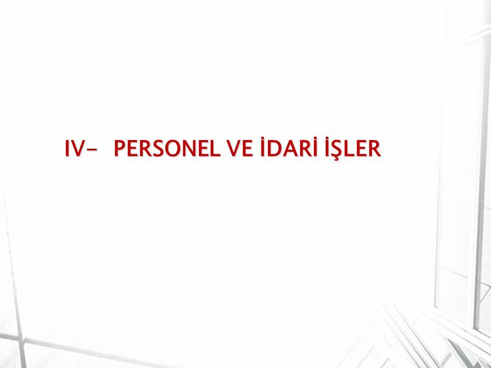 IV- PERSONEL VE İDARİ İŞLER