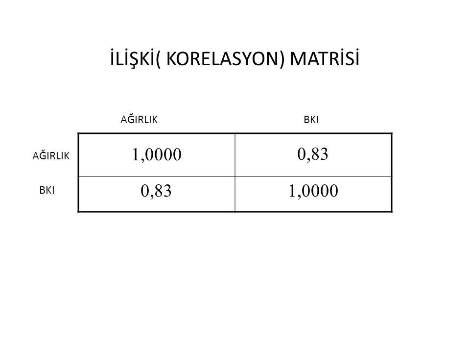 İLİŞKİ( KORELASYON) MATRİSİ