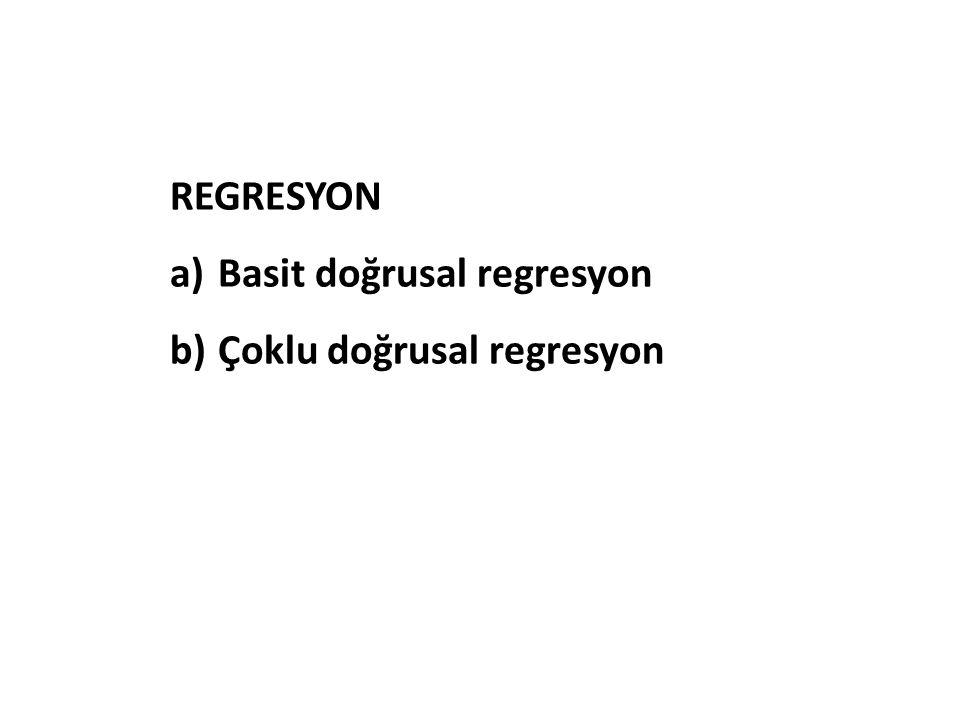 REGRESYON Basit doğrusal regresyon Çoklu doğrusal regresyon