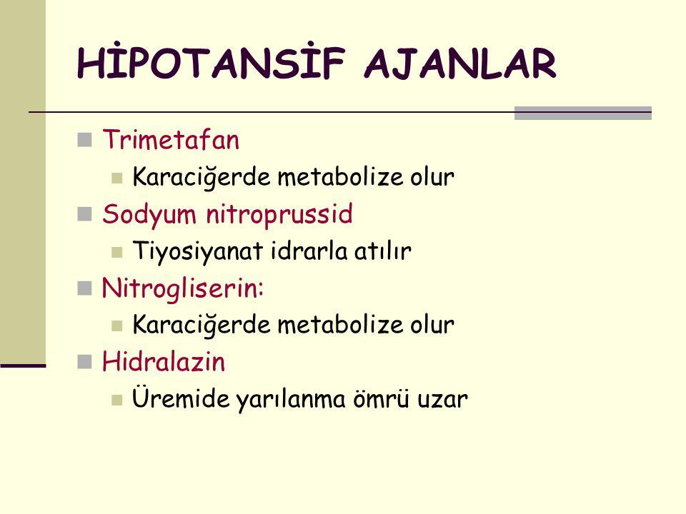 HİPOTANSİF AJANLAR Trimetafan Sodyum nitroprussid Nitrogliserin: