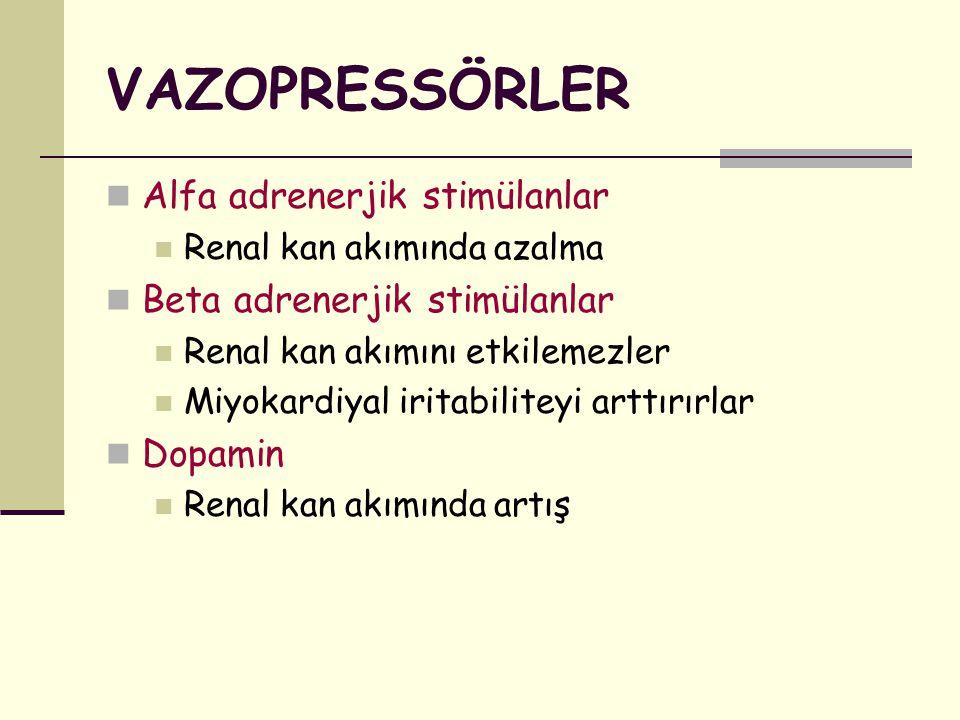 VAZOPRESSÖRLER Alfa adrenerjik stimülanlar Beta adrenerjik stimülanlar