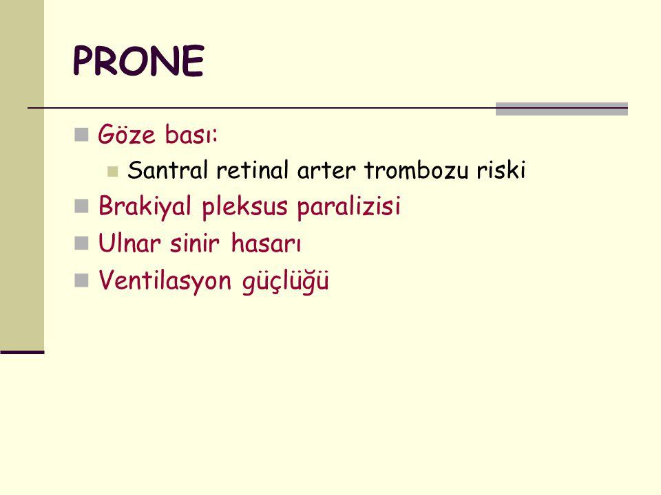 PRONE Göze bası: Brakiyal pleksus paralizisi Ulnar sinir hasarı
