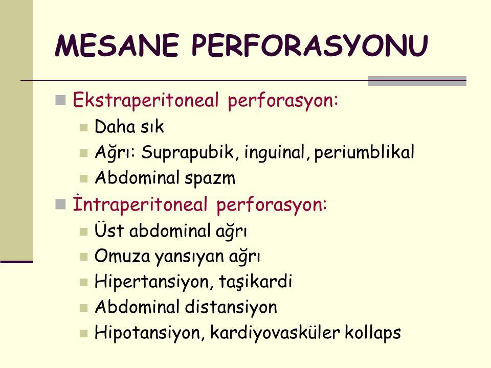 MESANE PERFORASYONU Ekstraperitoneal perforasyon: