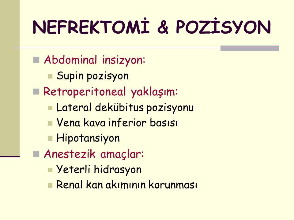 NEFREKTOMİ & POZİSYON Abdominal insizyon: Retroperitoneal yaklaşım: