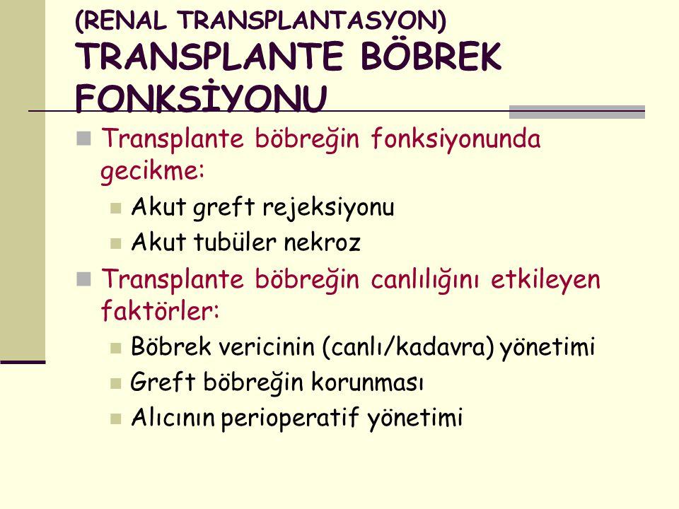(RENAL TRANSPLANTASYON) TRANSPLANTE BÖBREK FONKSİYONU
