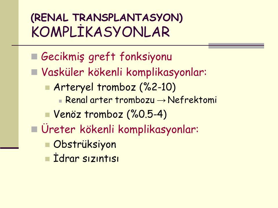 (RENAL TRANSPLANTASYON) KOMPLİKASYONLAR