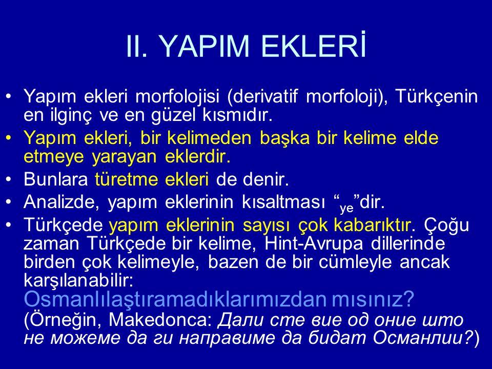 II. YAPIM EKLERİ Yapım ekleri morfolojisi (derivatif morfoloji), Türkçenin en ilginç ve en güzel kısmıdır.